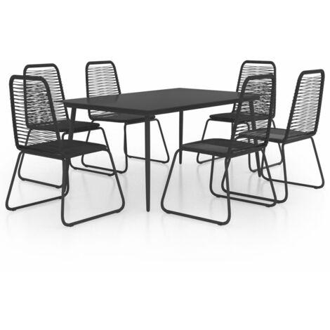 vidaXL Set de comedor de jardín de 7 piezas PVC ratán negro - Negro