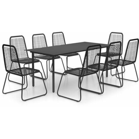 vidaXL Set de comedor de jardín de 9 piezas PVC ratán negro - Negro
