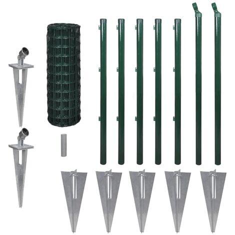 vidaXL Set de Euro Valla Cercado Jardines Industrias Granjas Patio Pastos Aire Libre Exterior Huerto Acero de Diferentes Tamaños Verde/Gris
