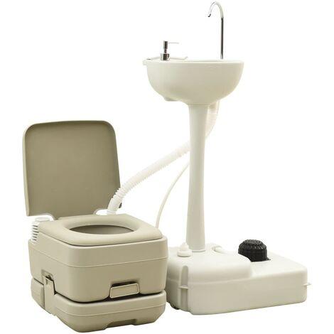 vidaXL Set de inodoro 10+10L y lavabo portátil de camping 20L gris - Gris