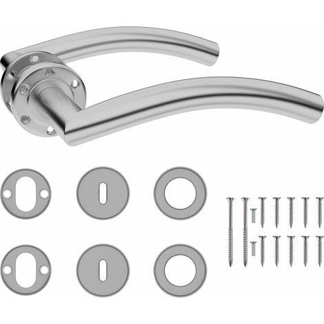 vidaXL Set de manilla de puerta curvada con pestillo BB acero inoxidable - Plateado