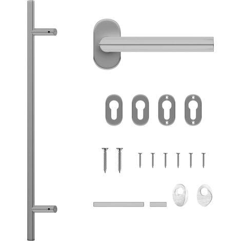 vidaXL Set de manilla y barra para puerta PZ acero inoxidable 800 mm - Plateado