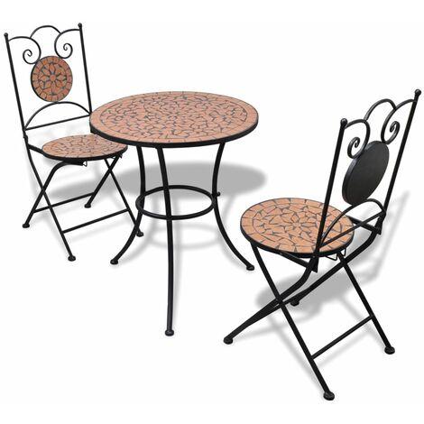 vidaXL Set de mesa y sillas de jardín 3 piezas con mosaico terracota - Marrón