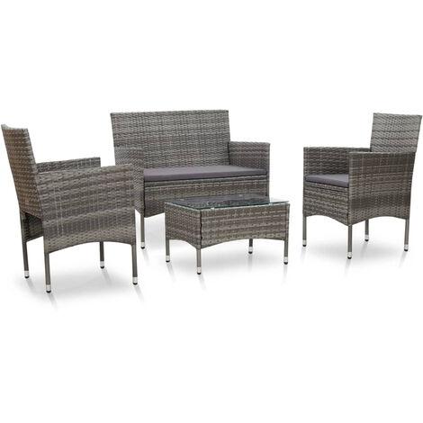 VidaXL Set de muebles de jardin 4 pzas y cojines ratan sintetico gris