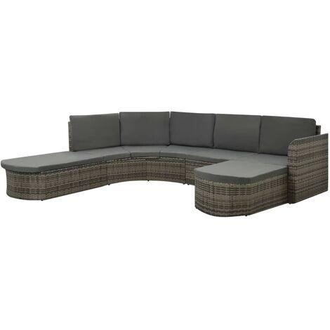 vidaXL Set de muebles de jardín 4 pzas y cojines ratán sintético gris - Gris