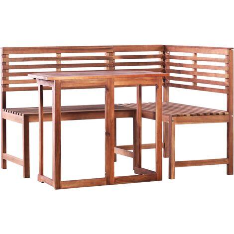 vidaXL Set mesa y sillas bistró de jardín 2 pzas madera maciza acacia - Marrón