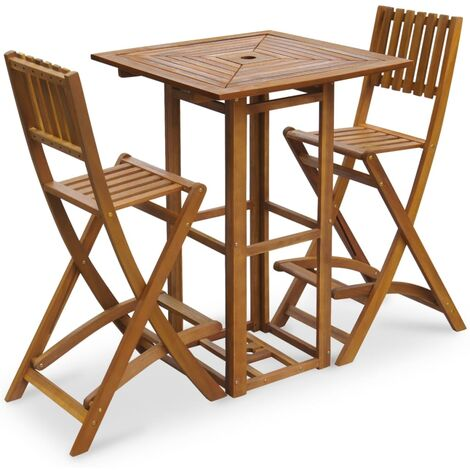 vidaXL Set mesa y sillas bistró de jardín 3 pzas madera maciza acacia - Marrón