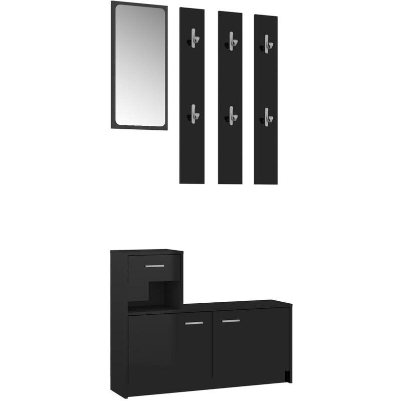 vidaXL Set Mobile da Ingresso Bianco Lucido 100x25x76,5 cm Truciolato
