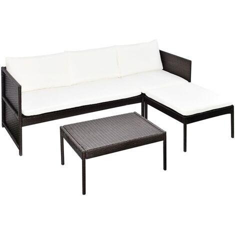 vidaXL Set muebles de jardín 3 pzas y cojines ratán sintético marrón - Marrón