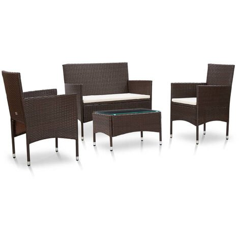 VidaXL Set muebles de jardin 4 piezas y cojines ratan sintetico marron