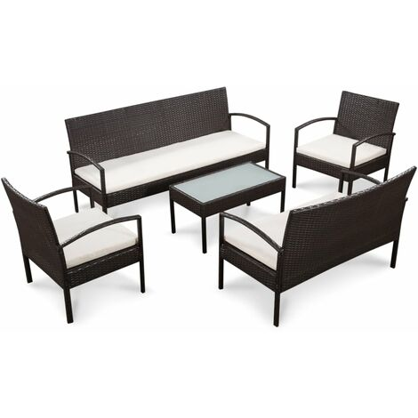 """main image of """"vidaXL Set muebles de jardín 5 piezas y cojines ratán sintético marrón - Marrón"""""""