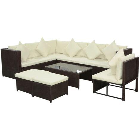 vidaXL Set muebles de jardín 8 piezas y cojines ratán sintético marrón - Marrón