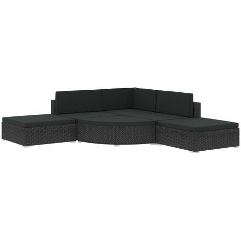 vidaXL Set muebles de jardín y cojines 6 piezas ratán sintético negro - Negro