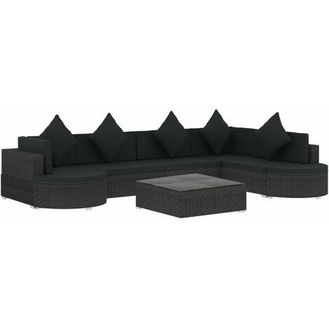 vidaXL Set muebles de jardín y cojines 8 piezas ratán sintético negro - Negro