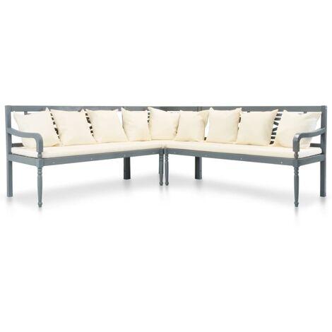 vidaXL Set sofás de jardín 3 pzas y cojines madera maciza acacia gris - Gris