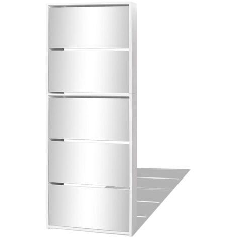 vidaXL Shoe Cabinet 5-Layer Mirror White 63x17x169.5 cm - White