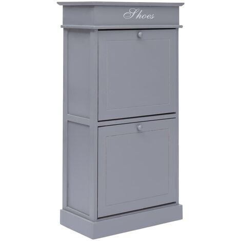 vidaXL Shoe Cabinet Grey 50x28x98 cm Paulownia Wood - Grey