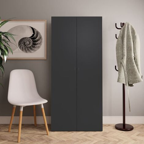 vidaXL Shoe Cabinet Grey 80x35.5x180 cm Chipboard - Grey