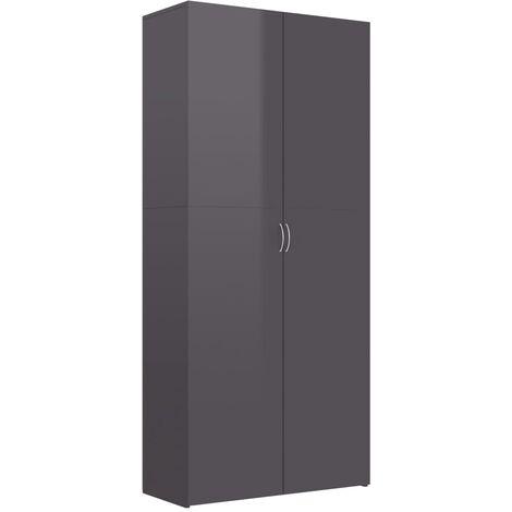 vidaXL Shoe Cabinet High Gloss Grey 80x35.5x180 cm Chipboard - Grey