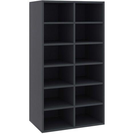 vidaXL Shoe Rack Grey 54x34x100 cm Chipboard - Grey
