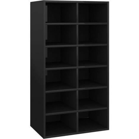 vidaXL Shoe Rack High Gloss Black 54x34x100 cm Chipboard - Black