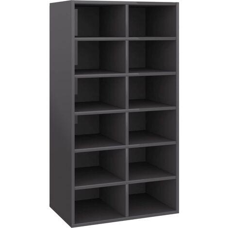 vidaXL Shoe Rack High Gloss Grey 54x34x100 cm Chipboard - Grey