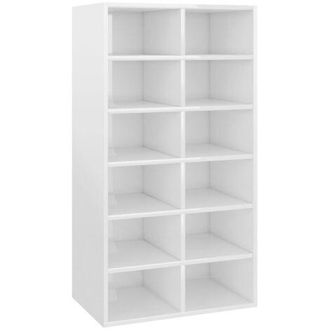 vidaXL Shoe Rack High Gloss White 54x34x100 cm Chipboard - White
