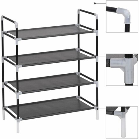 vidaXL Shoe Rack Metal and Non-woven Fabric Shoe Stand Shoe Organiser Unit Storage Rack Home Entrance Black/Silver with 4/8/10 Shelves