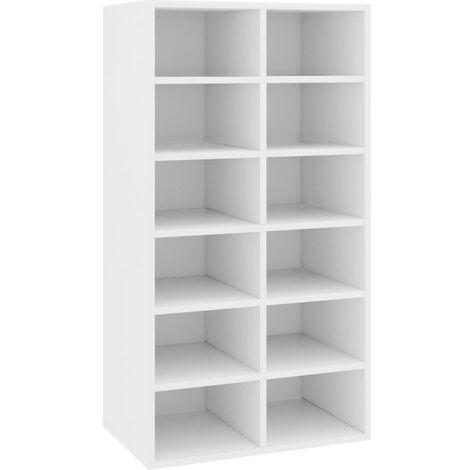 vidaXL Shoe Rack White 54x34x100 cm Chipboard - White