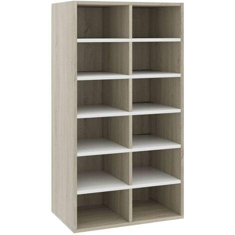 vidaXL Shoe Rack White and Sonoma Oak 54x34x100 cm Chipboard - Multicolour