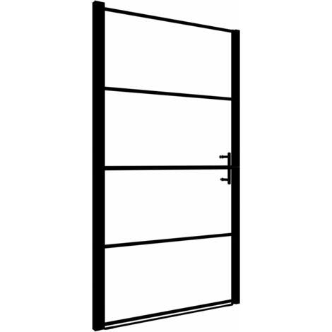 """main image of """"vidaXL Shower Door Frost Tempered Glass 91x195 cm Black"""""""