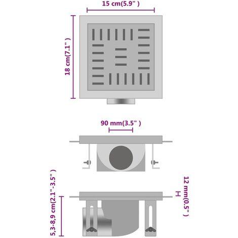 vidaXL Shower Drain Checker 15x15 cm Stainless Steel