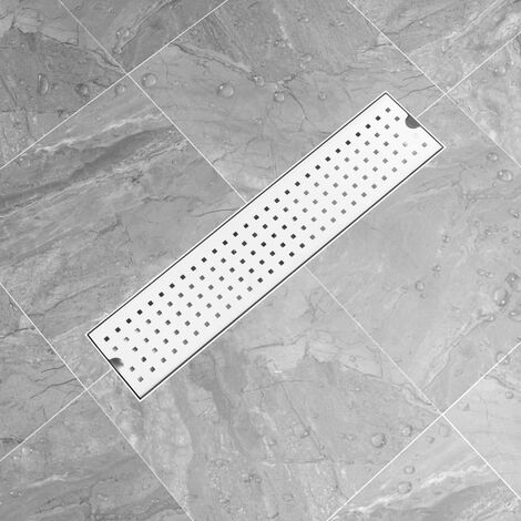 vidaXL Shower Drain Dots 53x14 cm Stainless Steel