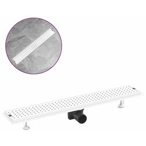 vidaXL Shower Drain Dots 73x14 cm Stainless Steel