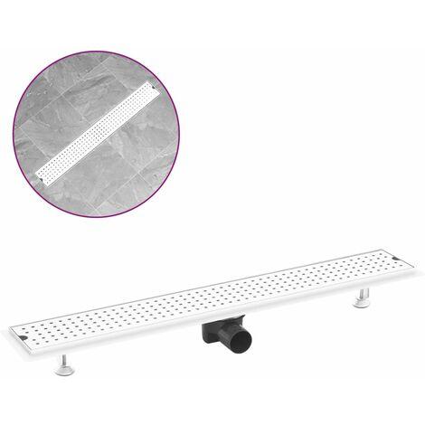 vidaXL Shower Drain Dots 83x14 cm Stainless Steel