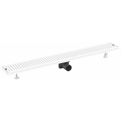 vidaXL Shower Drain Dots 93x14 cm Stainless Steel