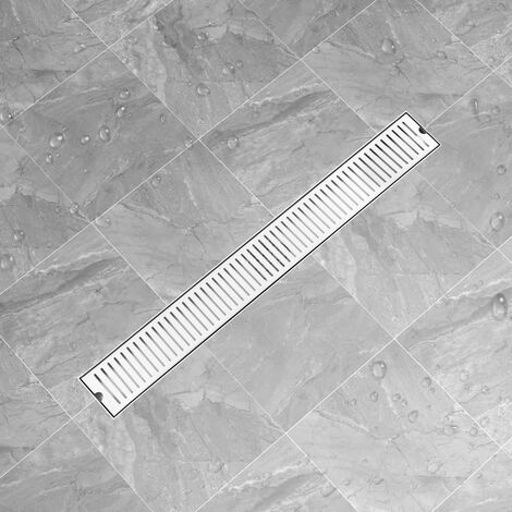 vidaXL Shower Drain Vents 93x14 cm Stainless Steel