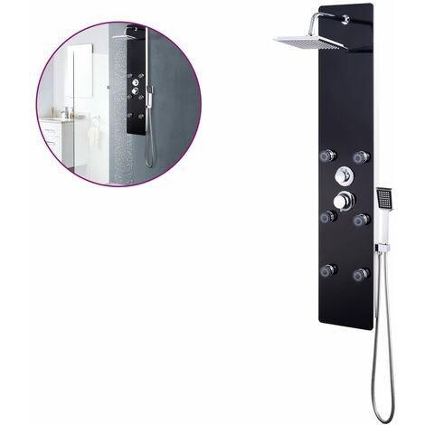 vidaXL Shower Panel Unit Glass 25x44.6x130cm Bathroom Jet Column Black/White