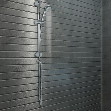 vidaXL Shower Rail Set with Hand Shower Metal - Silver
