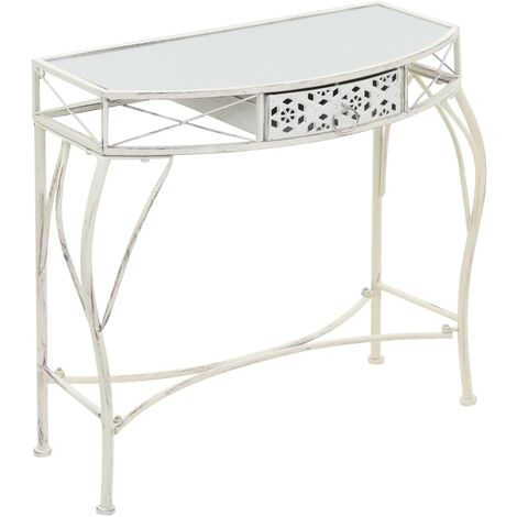 vidaXL Side Table French Style Metal 82x39x76 cm Console Table Side Hall Telephone Desk Entryway Cabinet Living Room Furniture Gold/White