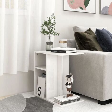 "main image of ""vidaXL Side Table High Gloss White 50x30x50 cm Chipboard - White"""