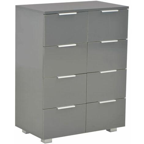 vidaXL Sideboard High Gloss Grey 60x35x76 cm Chipboard - Grey