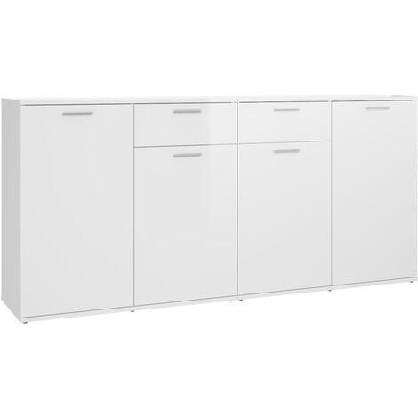 "main image of ""vidaXL Sideboard High Gloss White 160x36x75 cm Chipboard - White"""