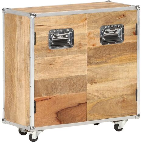 vidaXL Sideboard with 2 Doors 70x30x69 cm Solid Mango Wood - Brown