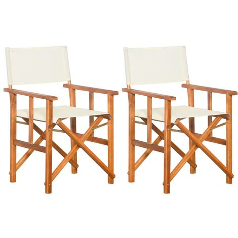 vidaXL Sillas de director 2 unidades madera maciza de acacia - Marrón