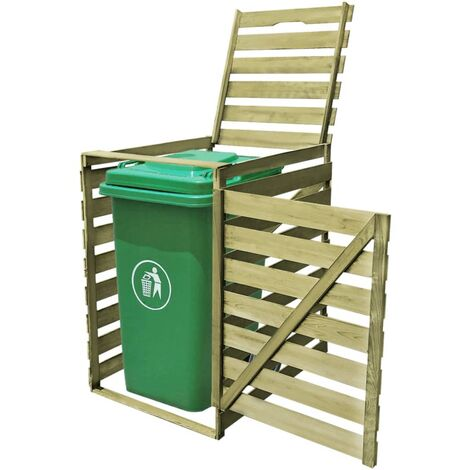 vidaXL Single Wheelie Bin Shed 240 L Impregnated Wood