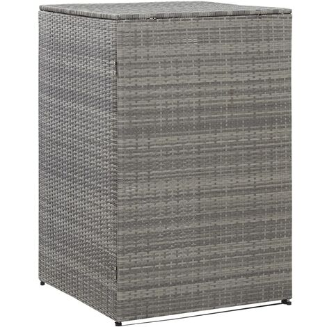 vidaXL Single Wheelie Bin Shed Anthracite 76x78x120 cm Poly Rattan - Anthracite