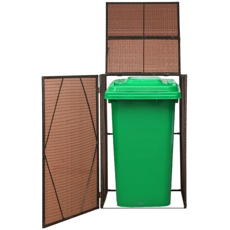 vidaXL Single Wheelie Bin Shed Poly Rattan 76x78x120 cm Brown - Brown