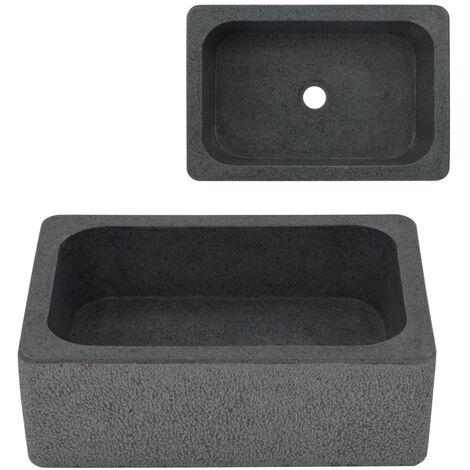 vidaXL Sink 45x30x15 cm Riverstone Black - Black