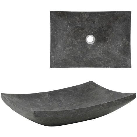 vidaXL Sink 50x35x12 cm Marble Black - Black
